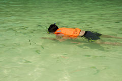 Boy snorkeling in the sea Royalty Free Stock Photos