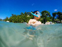 Boy snorkeling Stock Photo