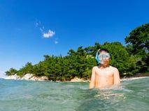 Boy snorkeling Stock Image
