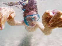 Boy snorkeller underwater Stock Photo