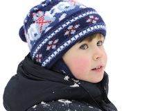 Boy in the snow. Boy playing in the winter snows Royalty Free Stock Photos
