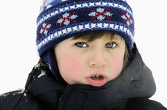 Boy in the snow. Boy playing in the winter snows stock images