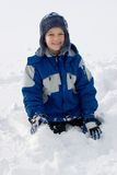 Boy In Snow  Stock Photo