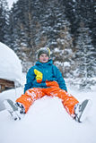 Boy in snow Stock Photos