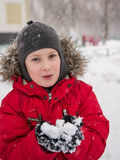 Boy and snow Royalty Free Stock Photo
