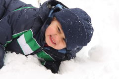Boy on Snow Royalty Free Stock Image