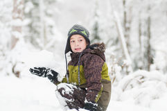 Boy in the snow Royalty Free Stock Image