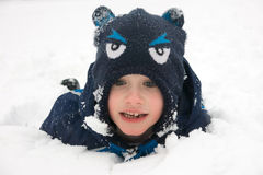 A boy in the snow Royalty Free Stock Photos