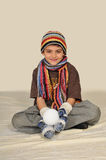 Boy with snowball Royalty Free Stock Photos