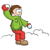 Boy with snowball. Boy throwing snowball cartoon illustration Stock Photo
