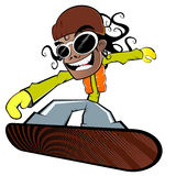 Boy on snowboard. Cartoon or illustration of a boy or young man on a snowboard Stock Photo