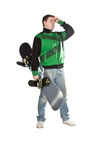 Boy with snowboard. Stock Images