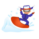 Boy on snowboard. Childrens fun in winter on white background. Boy on snowboard Royalty Free Stock Image