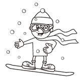 Boy and snowboard, coloring Royalty Free Stock Image