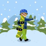 Boy with snowboard making selfie on background of winter landscape vector Illustration. Cartoon style Stock Photos