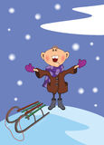 The boy and a snowfall. Cartoon Royalty Free Stock Image