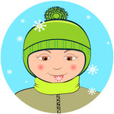 Boy with snowflake Royalty Free Stock Photo