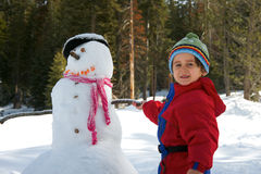 Boy with snowman Royalty Free Stock Photos