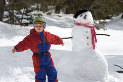Boy with snowman Royalty Free Stock Photography