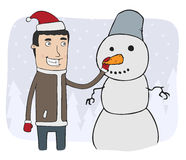 Boy and snowman Stock Photos