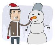 Boy and snowman Stock Photos