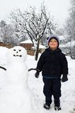 Boy with snowman. Winter scene with little boy standing by a snowman Royalty Free Stock Photo