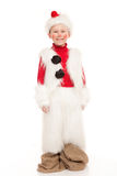 Boy in the snowman costume Stock Image