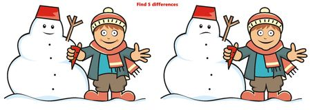 Boy and snowman, find five differences. Boy and snowman. Game for children. Find five differences Stock Photos