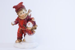 Boy and snowman Royalty Free Stock Images