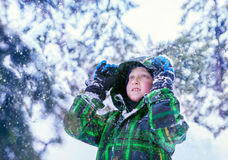 Boy in snowy forest Royalty Free Stock Photos