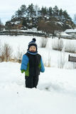 Boy in snowy landscape. Stock Images