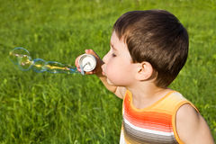 Boy with soap bubbles Royalty Free Stock Photo