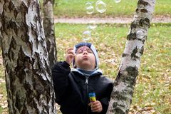 Boy with soap-bubbles Royalty Free Stock Images