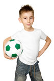 Boy with soccer ball. A over white background Royalty Free Stock Photography