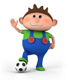 Boy with soccer ball stock illustration