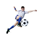Boy with soccer ball, Footballer. (isolated) Stock Images