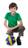 Boy with a soccer ball, isolated. Stock Images
