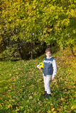 The boy with soccer ball in park Stock Photo