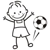 Boy and soccer ball. Vector illustration. Footballer, young male. Funny icon , coloring book Royalty Free Stock Photos