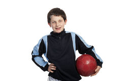 Boy with soccer ball on white background Stock Photos