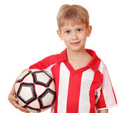 Boy with soccer ball on white Stock Photography