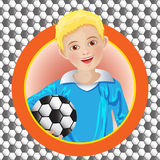 Boy soccer player on the background Royalty Free Stock Images