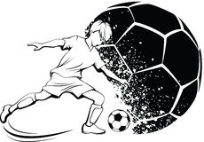 Boy Soccer Player with Splatter Ball Stock Photos