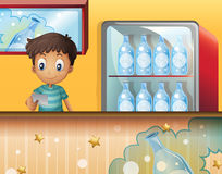 A boy in the soda shop vector illustration