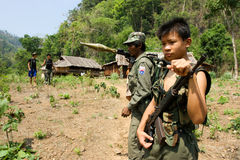 A boy soldier of The Karen National Liberation Army, Shan State Royalty Free Stock Photo