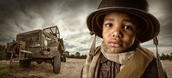 Boy soldier. Young African boy soldier portrait Royalty Free Stock Photo