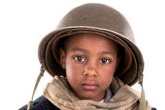 Boy soldier. Young boy soldier portrait isolated in white Stock Photography