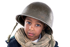Boy soldier. Young boy soldier portrait in white stock photography