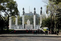 Boy soldiers monument in Chapultepec Park in CDMX. These cadets died defending Mexico City`s Chapultepec Castle from invading U.S. forces in the 13 September Royalty Free Stock Photo