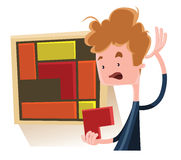 Boy solving a puzzle  illustration cartoon character Royalty Free Stock Photos